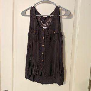 Button Down Lace Detailed Tank Top
